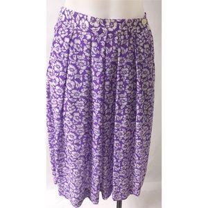 Purple & White Pleated Skirt Size Medium